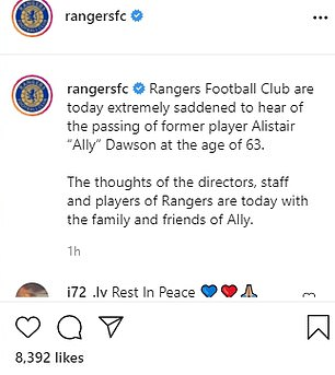 Rangers offered their condolences online