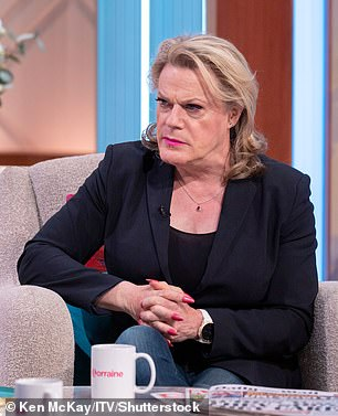 Brave: Meanwhile, Eddie, 59, announced she is gender fluid in December (pictured in May)