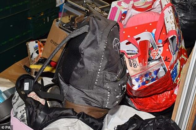 Pictured:Bernadette Walker's rucksack.The tragic diary entry by Bernadette Walker was revealed as her father Walker was found guilty by a jury of the teenage student's murder