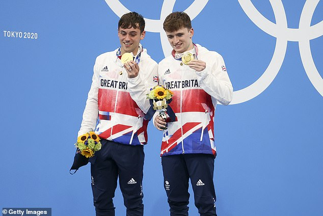 Finally:The British sportsman broke down in tears as he and diving partner Matty Lee triumphed in the 10m synchronized platform event on Monday - his first gold medal in four Olympic games (pictured July 26)