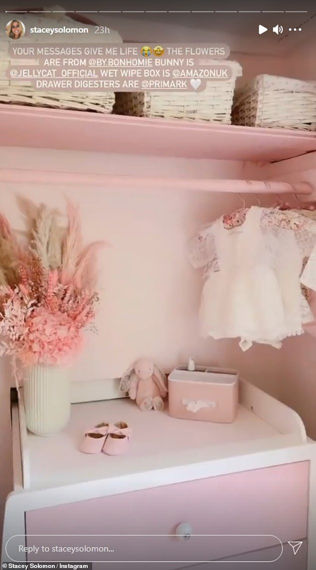 Finished project: Stacey Solomon, 31, seemed like she was well prepared for her new addition as she showed off an all-pink nursery ahead of the birth of her first daughter