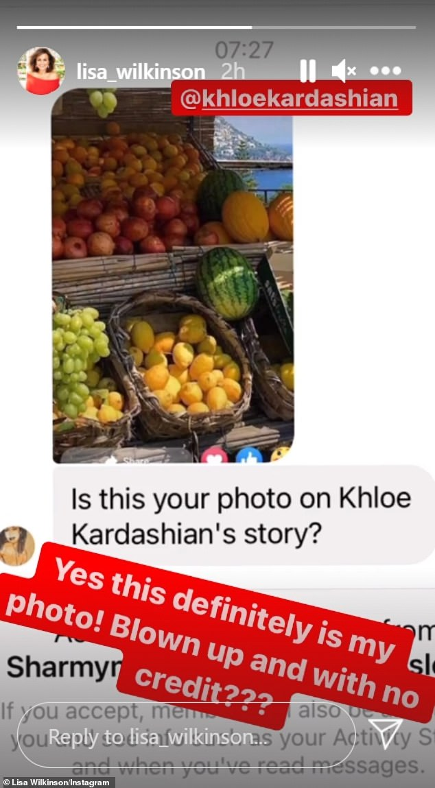 Hers:Lisa shared a message she'd received, asking her if the photo, which showed a fruit stand in Positano, Italy, was hers. 'Yes this is definitely my photo,' Lisa replied of the image, which she first posted on June 14. 'Blown up and with no credit?'