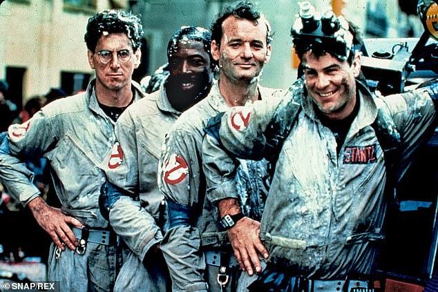 The original team: Here the stars of the 1984 film are seen: from left, Harold Ramis, Ernie Hudson, Bill Murray and Dan Aykroyd