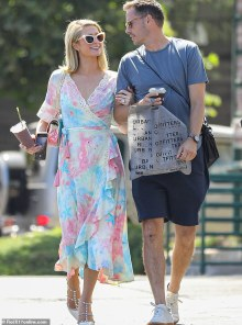 Paris Hilton, 40, DENIES she is pregnant alongside together with her first child with fiance Carter Reum