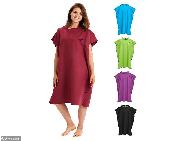 The towel poncho not only turns in to a large beach towel, but the press studs allow you to use the surf towel as a practical cover for your beach chair