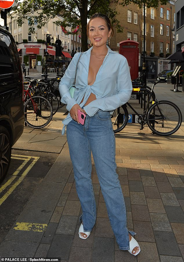 First night out: Love Island's Sharon Gaffka appeared to be making the most of life back in London as she headed for a night out in Covent Garden on Tuesday