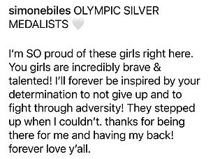 Love: Biles thanked McCallum, Lee, and Chiles for 'having her back,' that she was 'inspired by their determination'