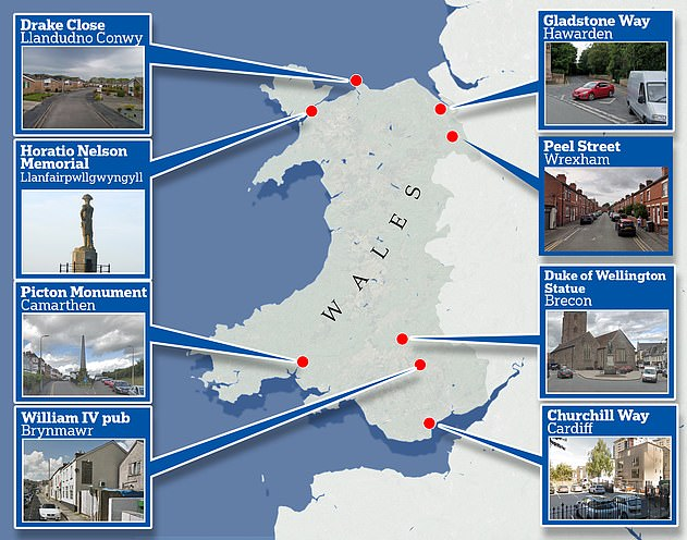 Some of the 209 statues, roads and buildings in Wales identified as bearing the names of famous Britons 'linked to the slave trade' during an audit which was published last year