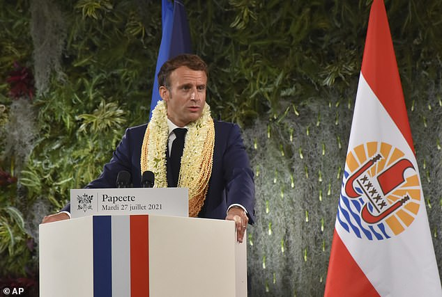 Earlier this month Macron announced in a TV address that coronavirus vaccination passes would be compulsory for bars, cafes and restaurants because of the rapid spread of the Delta Variant across France. Pictured: Macron in Tahiti on Tuesday