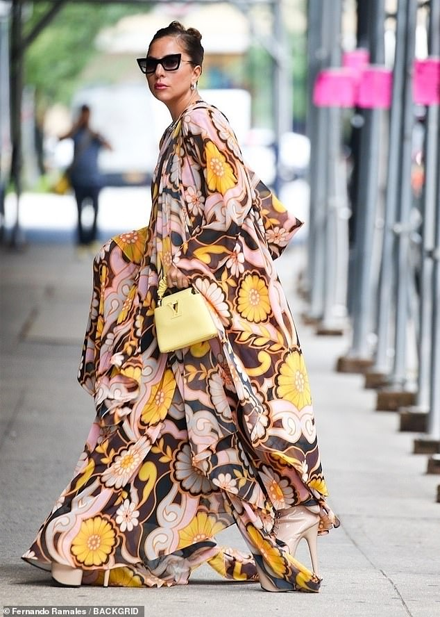 Bold and Beautiful: Lady Gaga exuded retro glamor in a gorgeous floral gown as she walked to the Highline stages near Chelsea Market on Wednesday