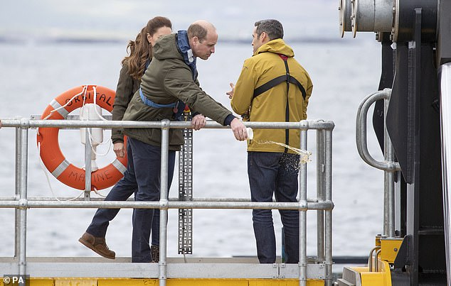 The Duke of Cambridge threw the whisky over the side of the vessel to bless the tidal turbine