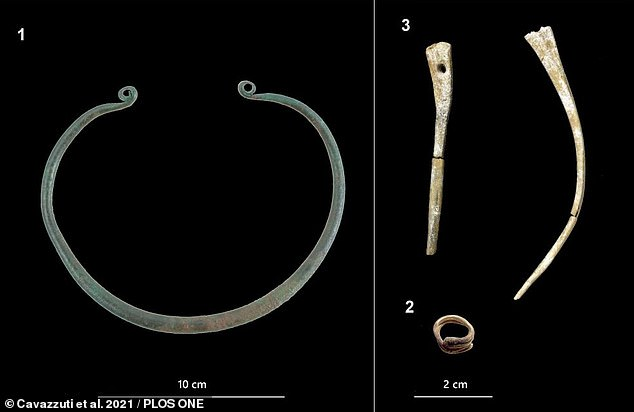 This — dubbed gravesite 241 — contained an urn holding the ashes of an adult woman and two 28-32 gestational weeks-old foetuses, buried alongside goods including a golden hair-ring (bottom right), a bronze neck-ring (left) and two bone hairpin ornaments (top right)