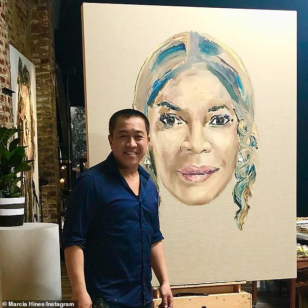 """Close Examination: TV Blackbox reports that Do's """"social media backlash"""" to """"process and finished artwork"""" is one of the reasons he wants to walk away.  Photographed here with her portrait of Marcia Hines"""