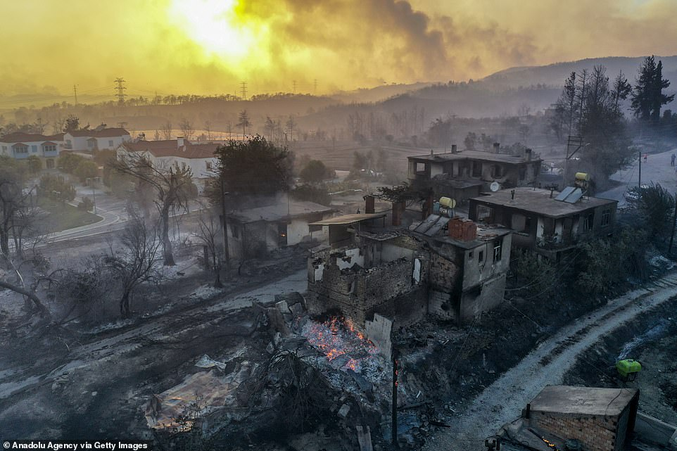 Drone photos show an aerial view of the damage caused by forest fires in Manavgat district, southern Turkey, on Wednesday