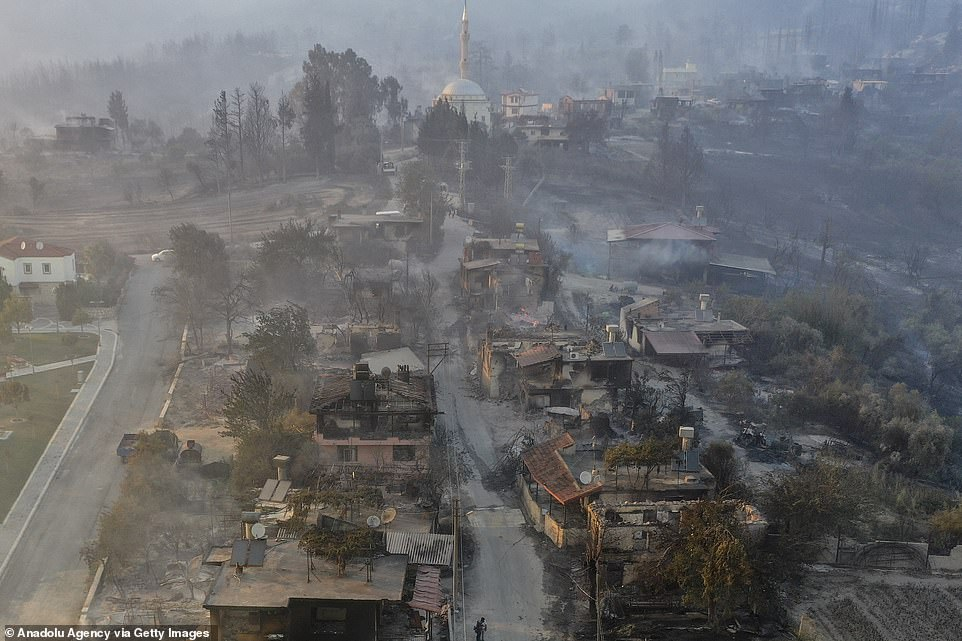 Dozens of people were taken to hospital for smoke inhalation and several for burns as a forest fire ravaged several communities near Mediterranean tourist resort Antalya