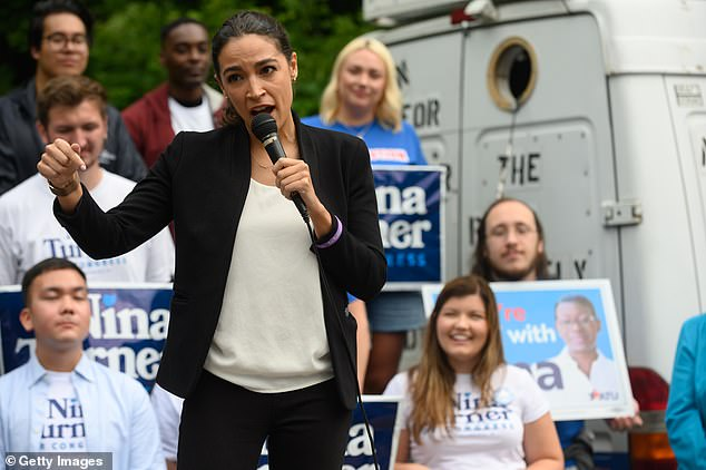 Rep. Alexandria Ocasio-Cortez has faced fire from left-wing activists who demand Medicare for All. Above, AOC campaigns for congressional candidate Nina Turner July 24 in Cleveland