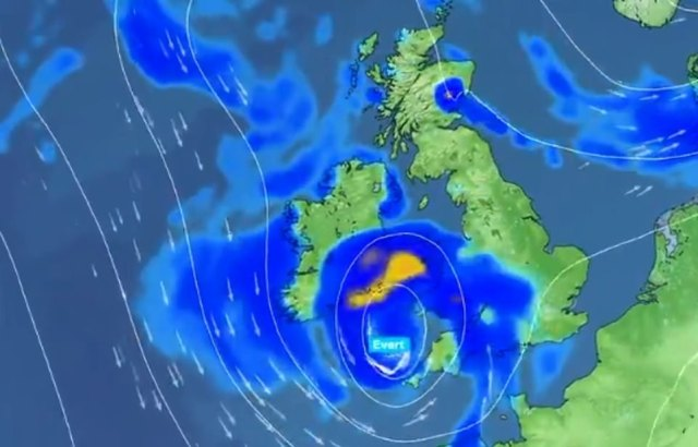 The blustery conditions are predicted to cause damage to buildings and fallen trees, with 'danger to life likely' due to large waves and beach material being thrown onto coastal roads