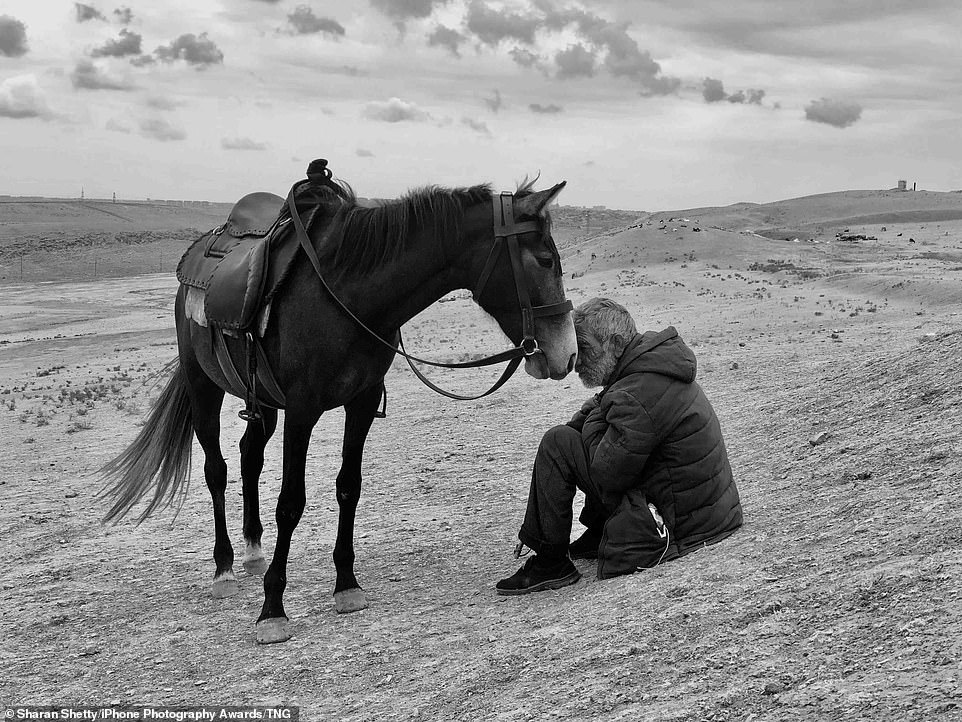 Bonding: Sharan Shetty's photo of a man and his horse (pictured) claimed first place, after the Grand Prize. The photo was taken by the Indian photohrapher in Yanar Dag, Baku in Azerbaijan, and shows an elderly man sitting on the floor beside his horse, who is shown nudging his rider with his nose as they travel through the desert