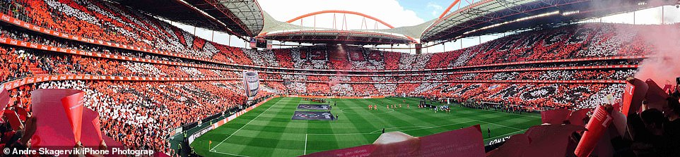 Estádio da Luz: A full stadium, home to Portuguese football team S.L. Benfica, is showin in this panoramic photograph taken byAndre Skagervik