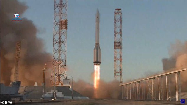 Nauka, which means 'science,' launched on July 21 atop a Russian Proton rocket (pictured), which also carried the new European Robotic Arm, or ERA, a 16-foot-long two-handed robot that can move freely outside of the ISS