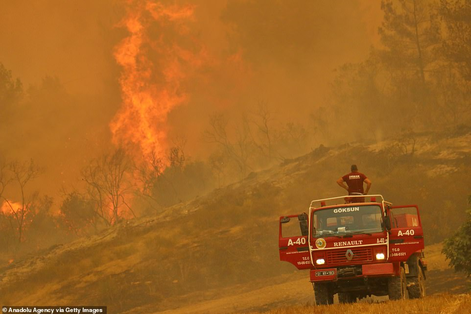 Three people have died in a forest fire in southern Turkey where authorities are battling multiple blazes for a second day amid suspicions of arson