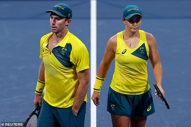 Ash Barty and John Peers (pictured) have lost their semi-final to play for Olympic gold, going down to ROC pairingAndrey Rublev and Anastasia Pavlyuchenkova