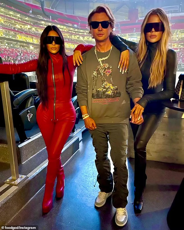 Trio: The 44-year-old rapper was supported at the event by his ex-wife Kim Kardashian West, their four children and sister, Khloe Kardashian, and
