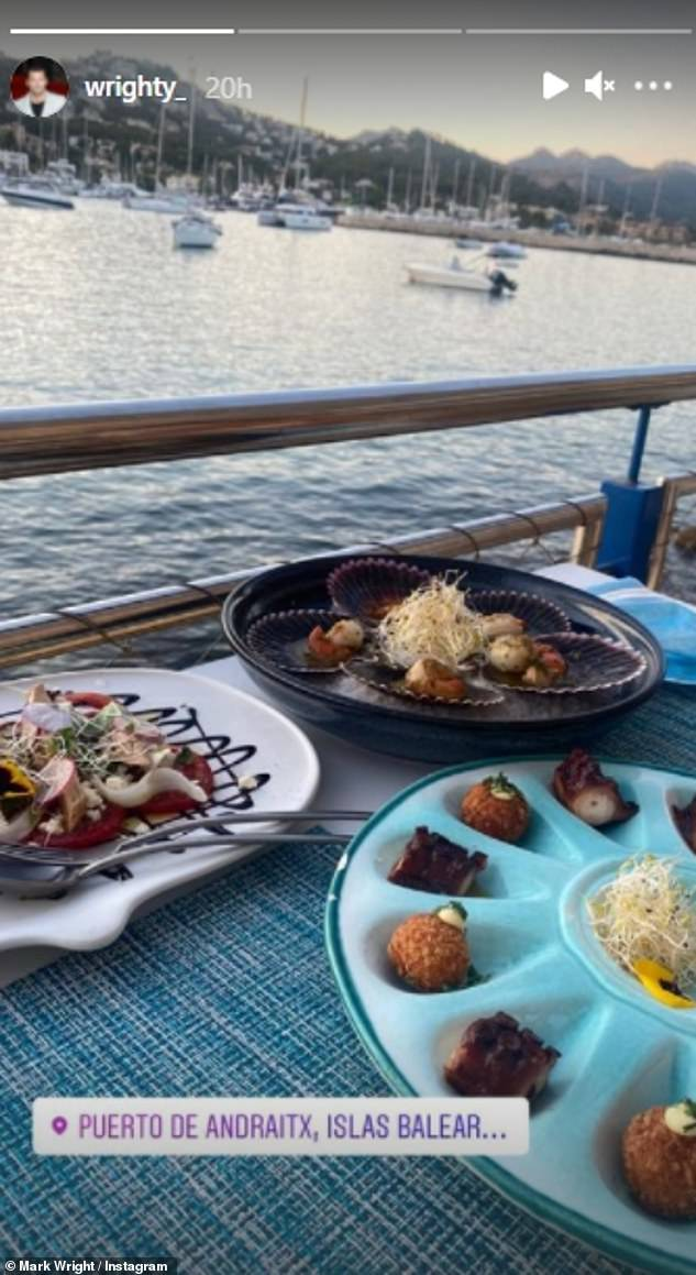 Keeping up: Mark shared snaps of a variety of beautiful drinks and dishes from his meals out abroad