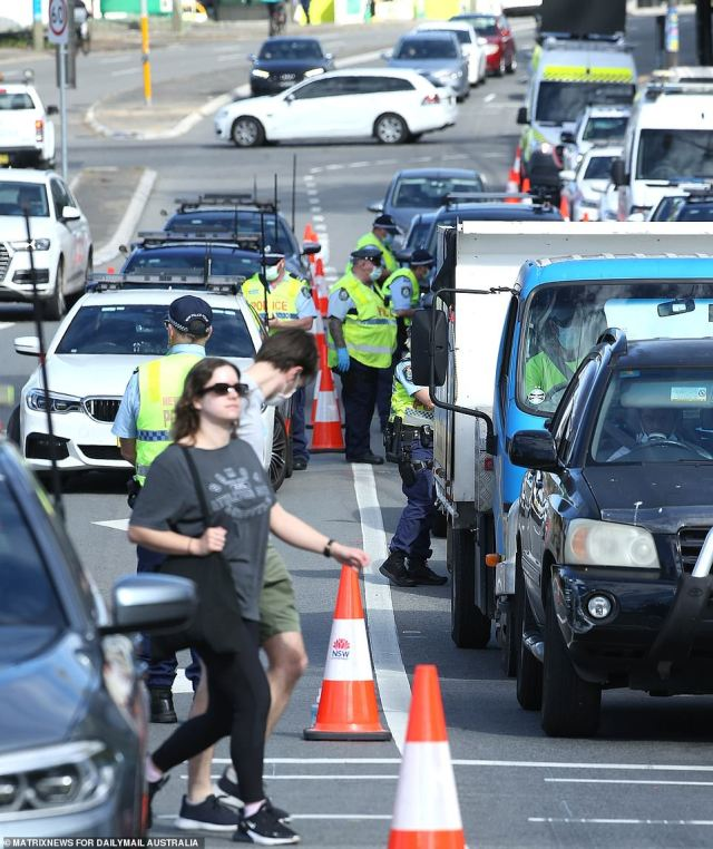 Police setup roadblocks and stopped any traffic entering the city to prevent a repeat of last weekend protest (pictured is the Princes Highway blocked at King St, Newtown)