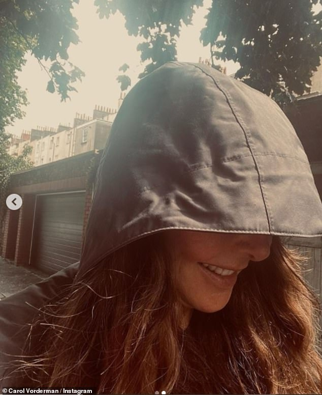 Rainy day: In the same post, the former Countdown presenter also shared an image of her wearing an anorak in Bristol