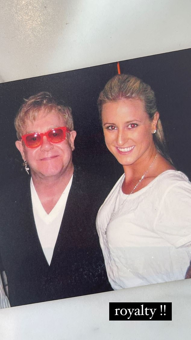 Music royalty: Roxy shared the pictures to her Instagram Stories on Saturday to reminiscence about the time she hung with the two very famous music artists. Pictured with Eleton John