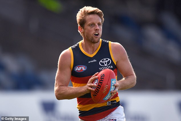'You must be bored mate!! Should have gotten me to sign them': Adelaide Crows player Rory Sloane (pictured) responded to Fitzy's post after the radio host asked the footballer to deliver the 'gold-tipped' card