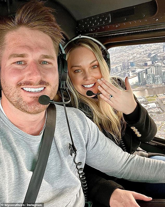 Magic moment: Bryce popped the question during a scenic helicopter ride overlooking the Melbourne CBD