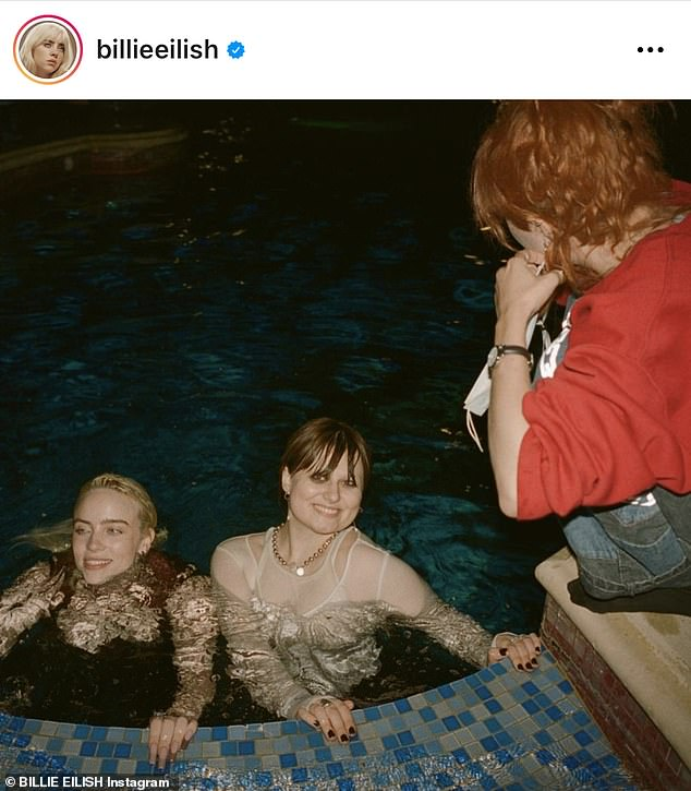 Time to party: On Saturday, Billie posted more Instagram photos of herself with her friends at her album launch party and captioned:
