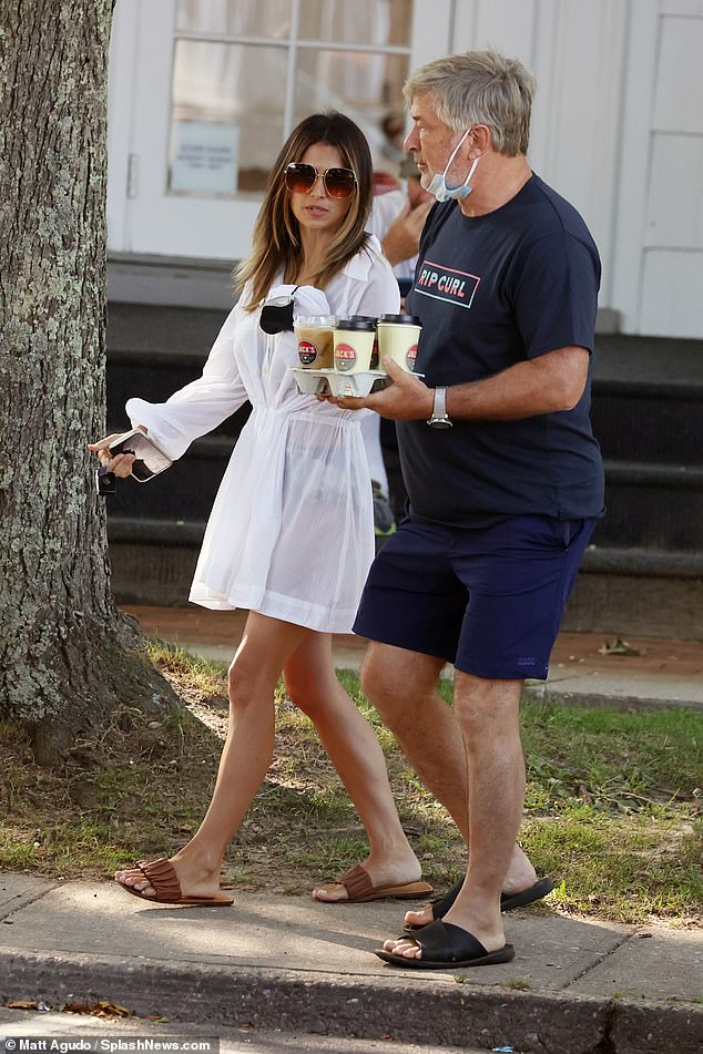 Outside: Alec Baldwin and his wife of nine years, Hilaria, were spotted making coffee in the Hamptons on Saturday