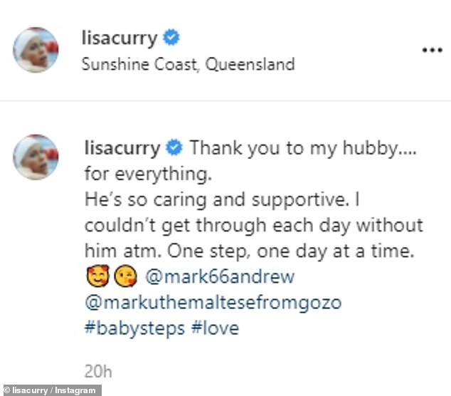 Tough times:'Thank you to my hubby…. for everything. He's so caring and supportive. I couldn't get through each day without him atm,' Lisa wrote
