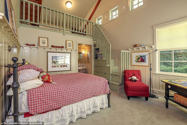 Guest space: Several of the rooms inside the mansion on Orcas Island offer views of the island and nature
