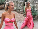 Made in Chelsea's Tiffany Watson puts her TINY waist on display in a hot pink two-piece