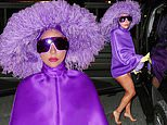 Lady Gaga gets cheeky in purple poncho and matching feathered hat ahead of Tony Bennett concerts
