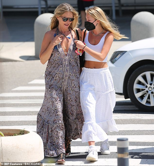 Family holiday:Kate Moss, 47, has brought her family in on the fun when her daughter Lila Grace, 18, arrived in Ibiza on Sunday