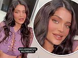Kylie Jenner dazzles in a lilac cut-out dress that flashes her cleavage