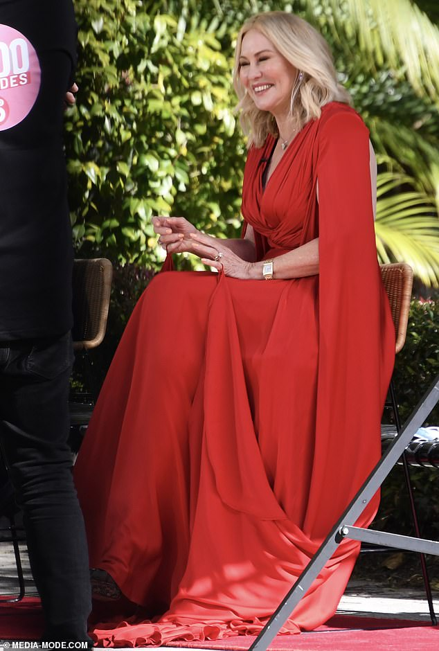 All dressed up: Kerri-Anne Kennerley looked every bit the glamorous TV star when she stepped out to film for Studio 10's 2000th episode in Sydney on Monday