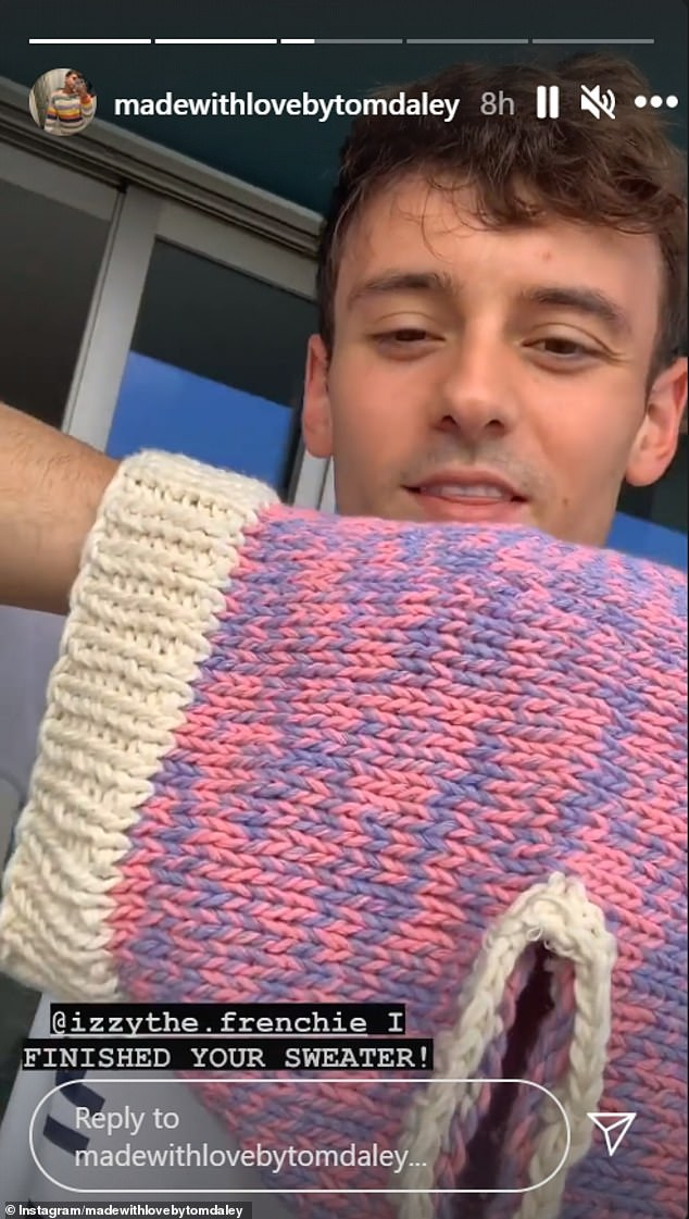 Wow:Responding to the viral snap with a picture of what he was making, he wrote on his Instagram Story on his page Made With Love By Tom Daley: 'For those asking what I'm making here ... I am making a dog jumper for @izzythe.frenchie'