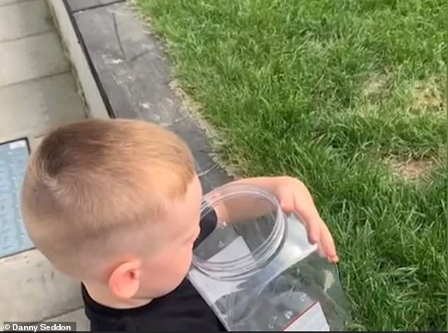 Danny, 25, was filming his son releasing the butterfly in the garden - tipping the plastic container upside down and shaking it - before it fluttered off