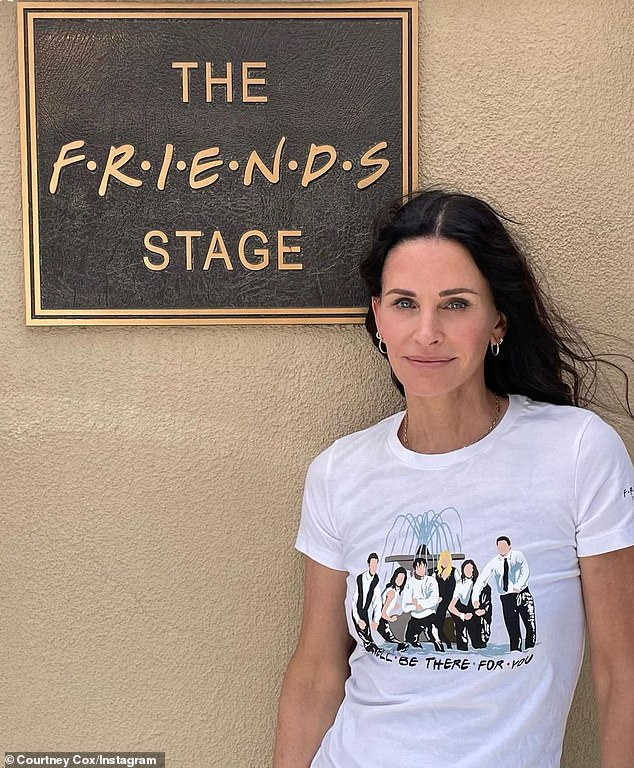 Where it all began: Courteney Cox, 57, posed in her Insta in front of the signage outside the soundstage in Burbank, Calif., On the grounds of Warner Bros.  where they filmed the series