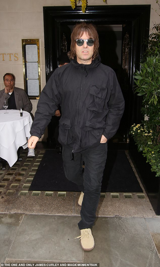 Dinner: Liam Gallagher, 48, and his fiancee Debbie Gwyther, 38, dined at Scott's in Mayfair on Sunday, two weeks after Liam's youngest son Gene, 20, was sentenced to stand trial