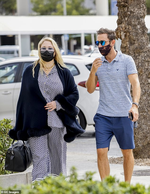 Another guest:Marcel was also seen with David Hasselhoff's daughter Hayley, who arrived at the airport draped in a navy blue shawl with fur trim