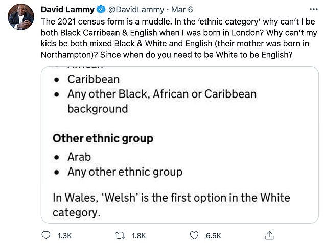 On March 6 Mr Lammy posted on Twitter about his opinions on the UK census