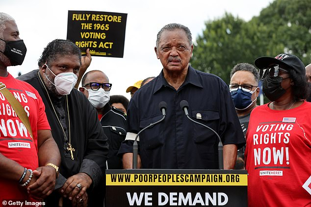 Reverend Jesse Jackson is seen on Monday addressing the crowd in Washington DC