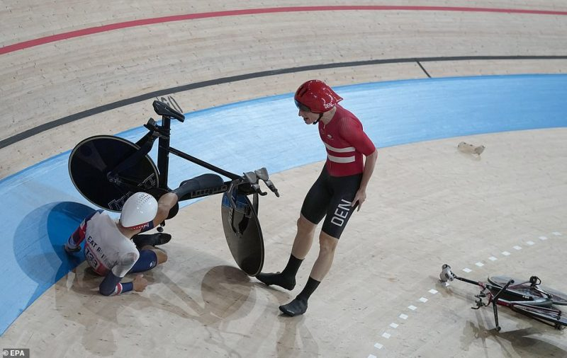 After a delay, cycling bosses then announced Denmark would be allowed to move onto the gold medal match against Italy, dashing British hopes and leading to more calls to disqualify the Danes